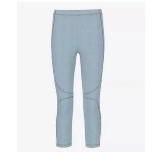 Theory Pants Leggings Blue Waffle Knit Capri Crop